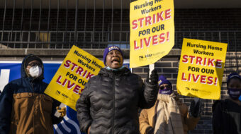 Patients support their striking SEIU nursing care workers