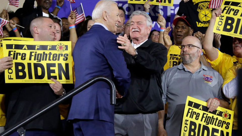 Biden renews collective bargaining pledge to Fire Fighters
