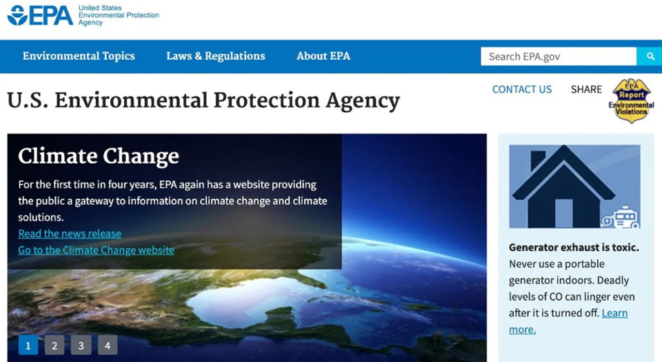 Words 'climate' and 'science' return to EPA website after four dark years under Trump
