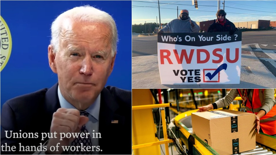 Biden declares support for Alabama Amazon workers' union drive