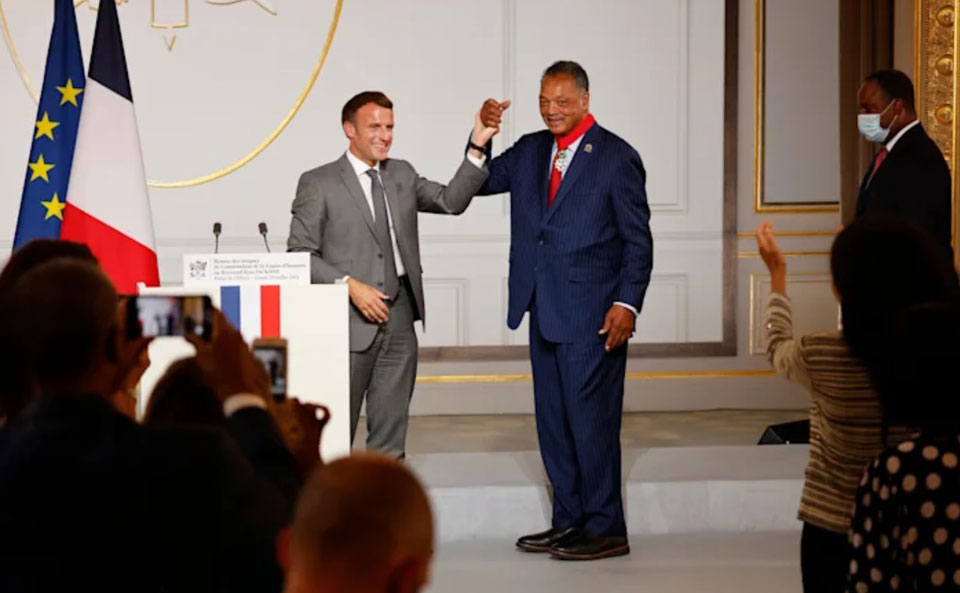 French president honors U.S. civil rights icon Jesse Jackson