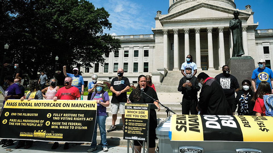 Poor People's car caravan demands Manchin junk filibuster, back voting rights