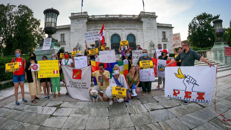 Peru solidarity: Activists show support for Castillo at OAS headquarters in D.C.
