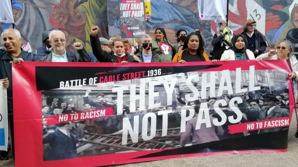 Anti-racists commemorate defeat of Mosley's fascist Blackshirts at 'Battle of Cable Street'
